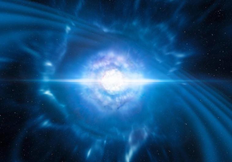 הדמיה של קילונובה: מיזוג והתנגשות של שני כוכבי ניטרונים זעירים אך דחוסים מאוד.