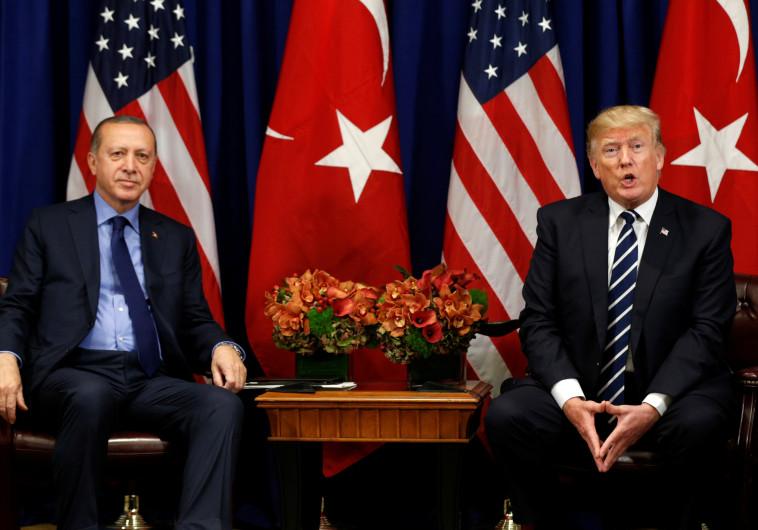 """נשיא ארה""""ב דונלד טראמפ ונשיא טורקיה ארדואן"""