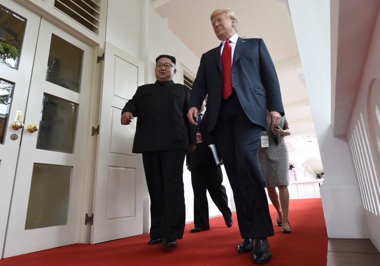 טראמפ וקים נכנסים לפגישתם