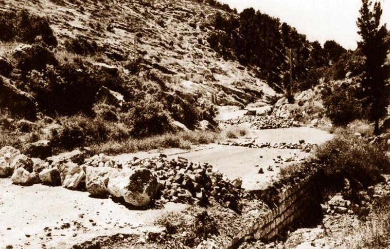 """מחסום דרכים בשער הגיא. צילום: ארכיון הפלמ""""ח"""