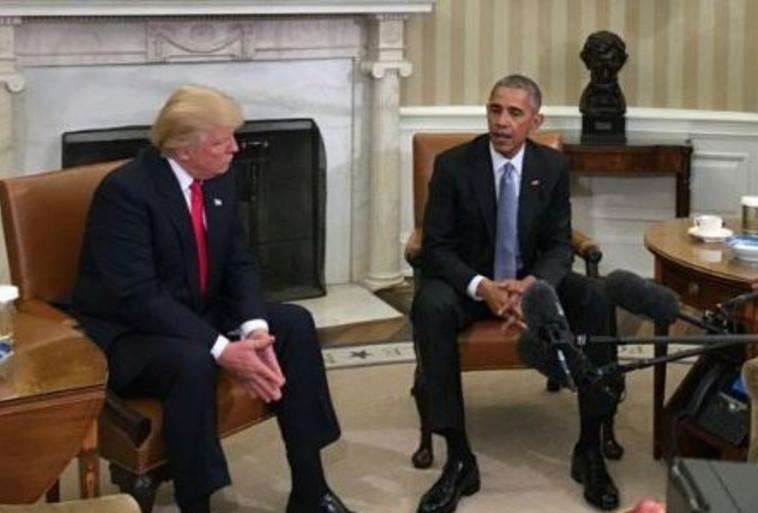 זה שיוצא וזה שנכנס. אובמה וטראמפ בפגישתם בבית הלבן. צילום: טוויטר
