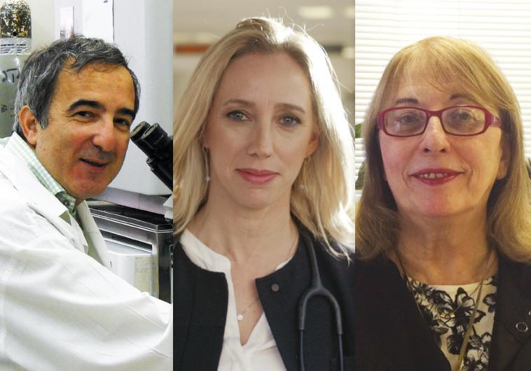 """שותפיה של פרופ' ערמון למחקר. פרופ' תמר פרץ (מימין), ד""""ר טליה גולן ופרופ' שי יזרעאלי (משמאל)"""