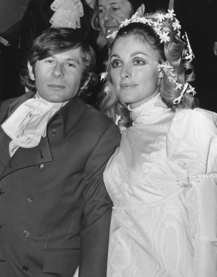שרון טייט עם פולנסקי ביום חתונתם, 1968. Getty images