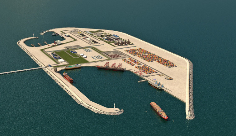 הדמיית האי המלאכותי מול עזה. צילום: מרים אלסטר, פלאש 90