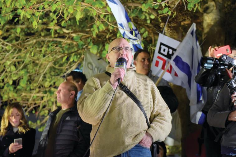 מוטי אשכנזי במחאת רוטשילד. צילום: אבשלום ששוני