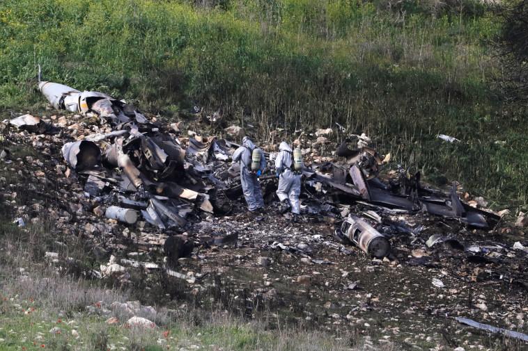 שרידי מטוס חיל האוויר שהופל ביום שבת. צילום: רויטרס