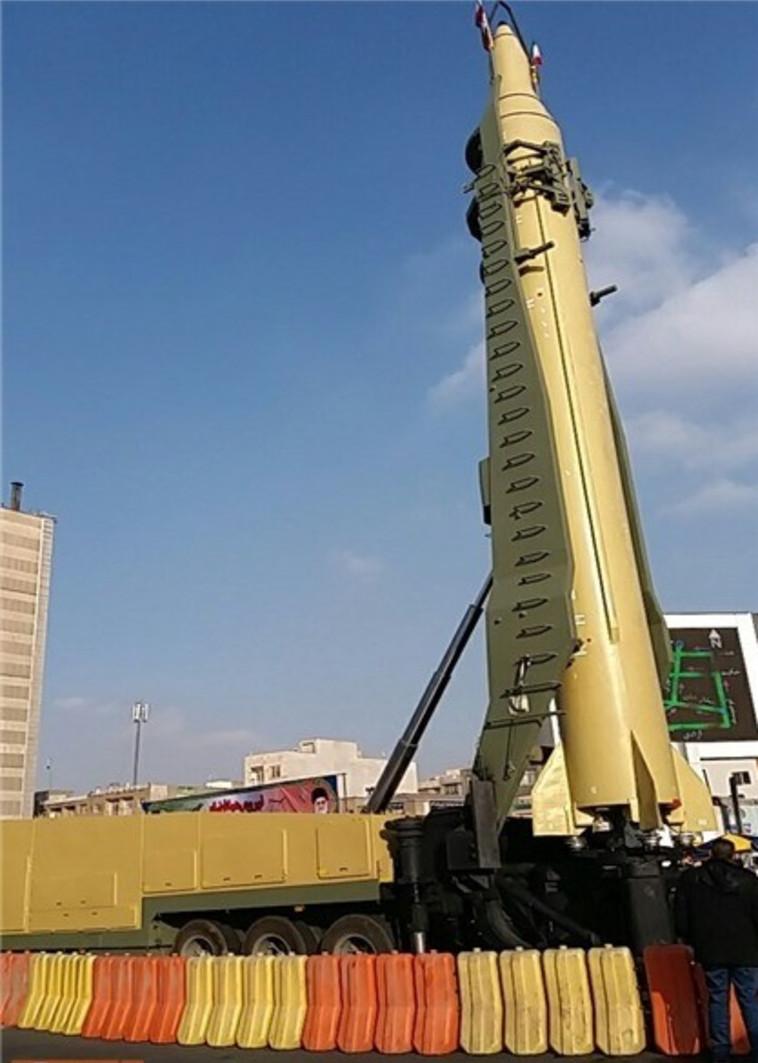 """הטיל האיראני החדש, """"קאדר-F"""". צילום: סוכנות 'פארס'"""