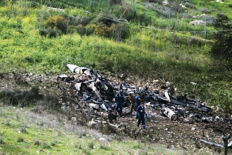 שרידי ה-F-16 שהופל. צילום: יונתן זינדל, פלאש 90