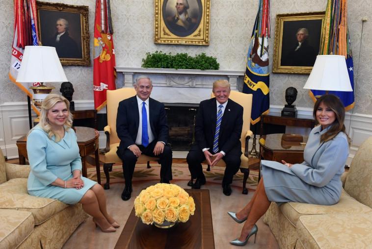"""בנימין נתניהו, שרה נתניהו, דונלד טראמפ ומלניה טראמפ. צילום: חיים צח, לע""""מ"""
