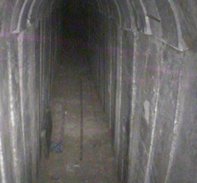 """המנהרה שנחשפה ברצועת עזה. צילום: דובר צה""""ל"""