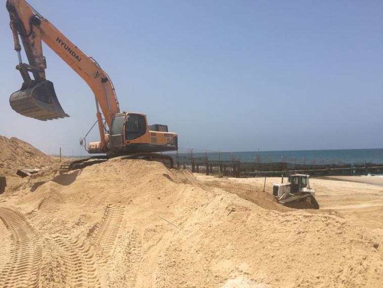 עבודות המכשול הימי בגבול הרצועה, צילום: דוברות משרד הביטחון