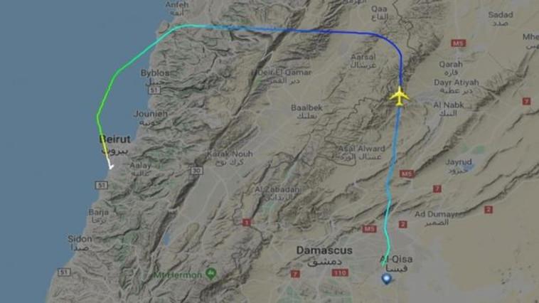 נתיב הטיסה החשודה הראשונה מטהרן לביירות. צילום: flightradar24, google maps
