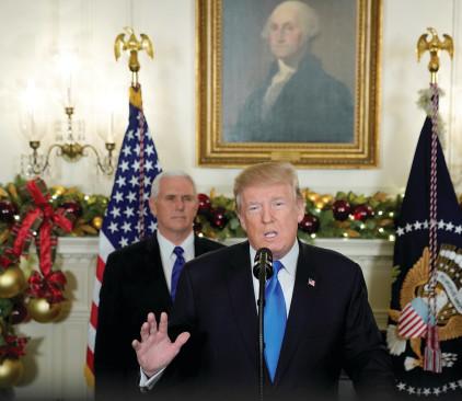 דונלד טראמפ בהכרזה על העברת השגרירות