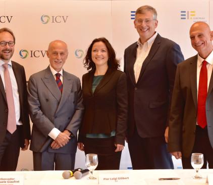 """אהרון אהרון, מנכ""""ל רשות החדשנות, מאיר יוקלס, שותף בקרן ICV, רמונה סמסון, סגנית בכירה בנציבות האירופי"""