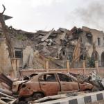 """הנזק בדיר א-זור לאחר כיבושה ע""""י צבא סוריה (ארכיון)"""