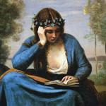 הקוראת עם הזר, המוזה של וירגיליוס  1845 שם הצייר זאן בטיסט קורו 1875-1796