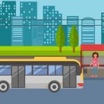 איור: אישה בתחנת אוטובוס