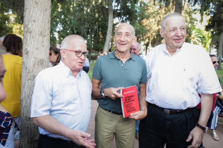 חיליק גוטמן, אהוד אולמרט ודן קורן (צילום: עדי כהן צדק)