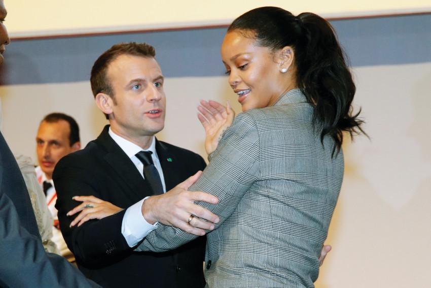 ריהאנה ועמנואל מקרון  (צילום: רויטרס)