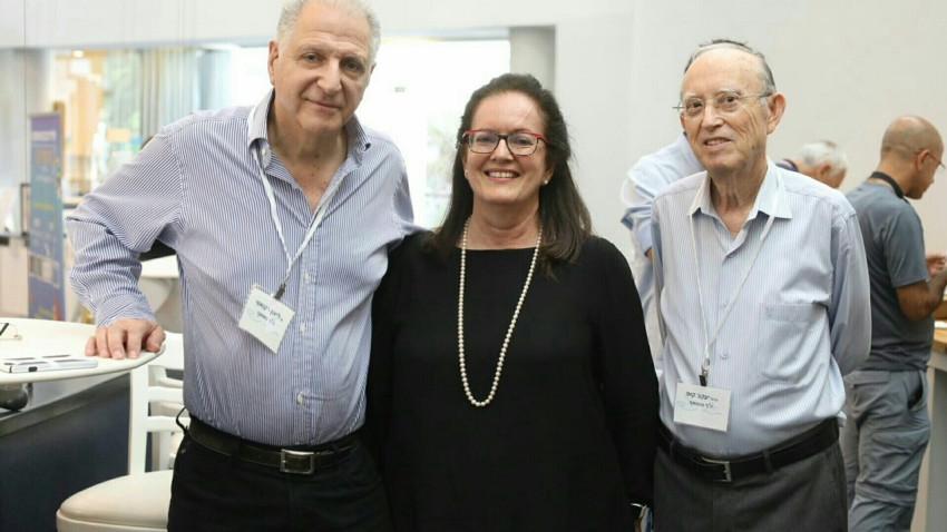 יעקב קופ, ליה לאור וליאון רקנאטי (צילום: אפי שמח, 3 צלמים)