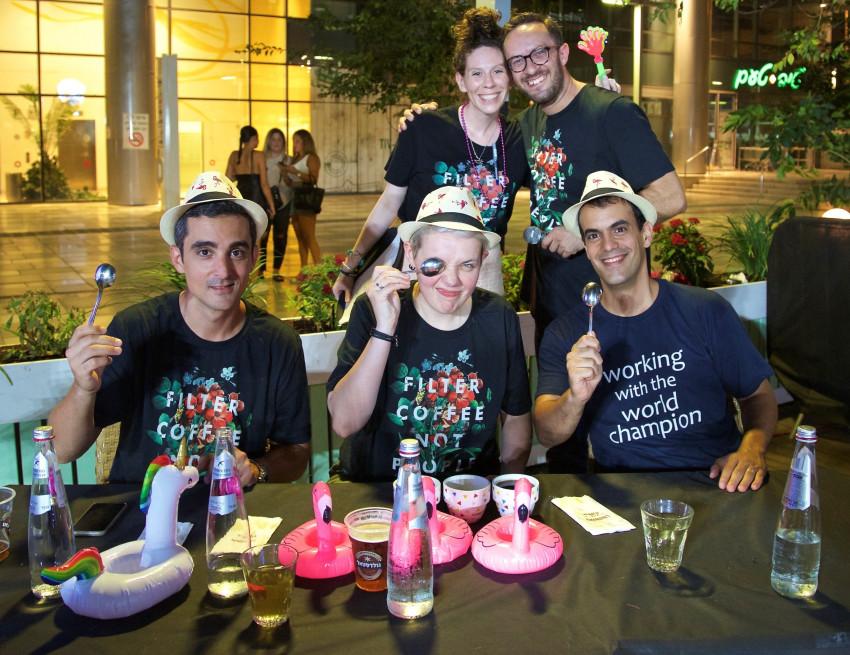 אנדריי וייצמן, קיי בירד, אורי קטן, אגניישקה רוז'סקה ואורי פדרמן (צילום: עודד פריטל)