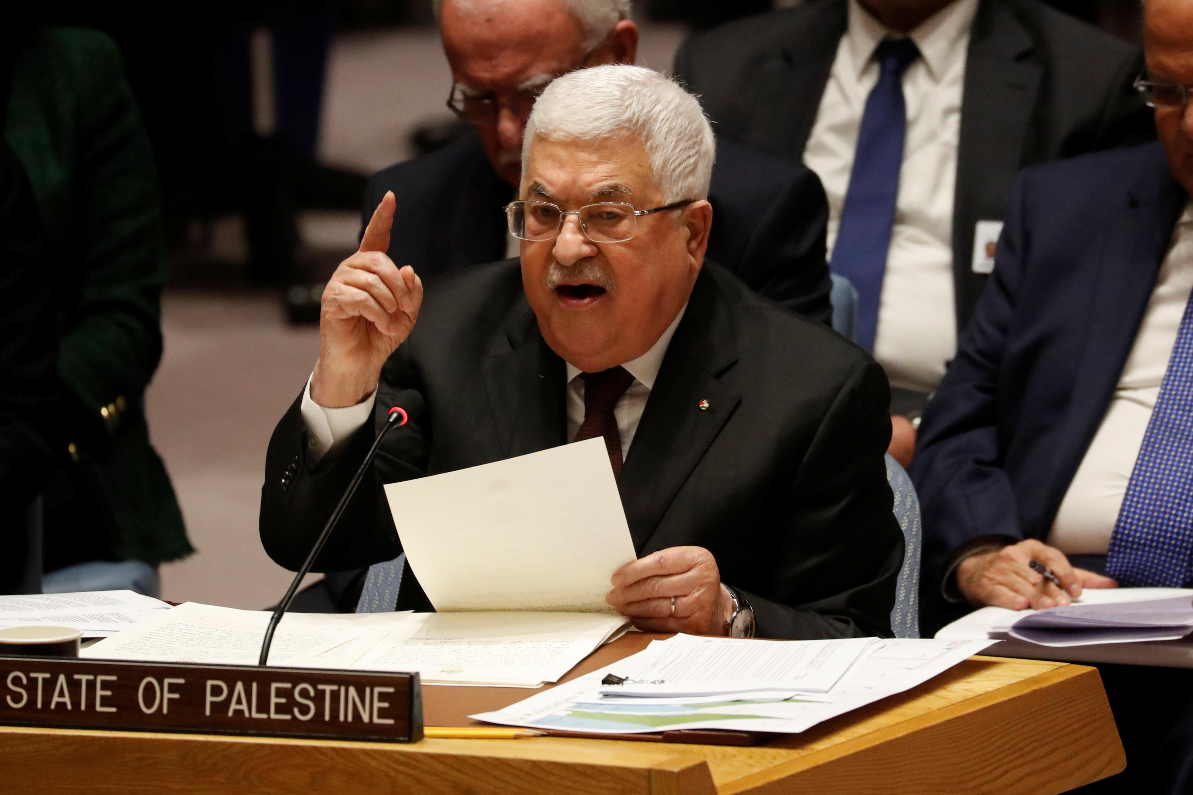 """אבו מאזן במועצת הביטחון של האו""""ם. צילום: REUTERS/Shannon Stapleton"""