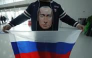 אוהד מניף את דגל רוסיה באולימפיאדת החורף