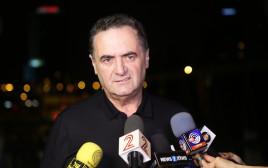 ישראל כץ במסיבת עיתונאים, תחנת רכבת השלום