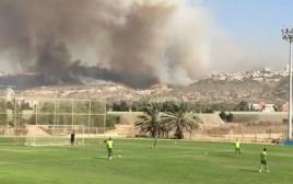 השריפה בחיפה מאיצטדיון סמי עופר