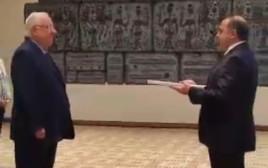 שגרירי טורקיה בישראל כמאל אוקם והנשיא ראובן ריבלין