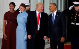 הזוג אובמה והזוג טראמפ נפגשים בבית הלבן ביום השבעת טראמפ