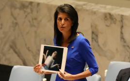 """ניקי היילי בדיון חירום באו""""ם על תקיפה כימית בסוריה"""