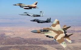 מטוסים אמריקאים וישראלים בתרגיל משותף