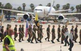 """חיילי צה""""ל מתכוננים לטקס לכבוד בואו של הנשיא טראמפ"""