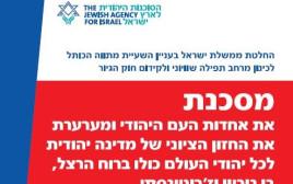 מודעת הסוכנות היהודית נגד החלטות הממשלה