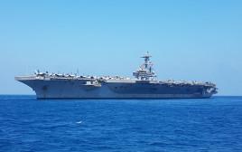 נושאת המטוסים בוש עוגנת לחופי ישראל