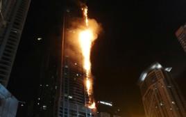 """שריפה במגדל """"הלפיד"""" בדובאי"""