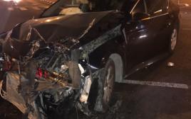 הרכב של עיסאווי פריג' מיד לאחר תאונת דרכים בה היה מעורב