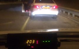 """נהג נתפס במהירות 203 קמ""""ש על ידי המשטרה"""