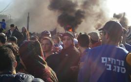 מפגינים באזור פינוי הנגרייה בנתיב האבות