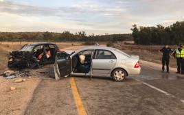 זירת תאונת דרכים בכביש לכיש-אמציה בין שני כלי רכב