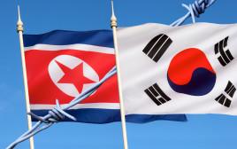 דגלי קוריאה הדרומית וקוריאה הצפונית