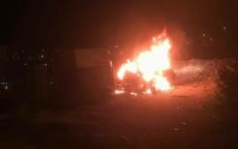 שריפת רכבו של הישראלי שנכנס לאבו דיס