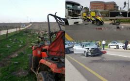 """זירות שלוש התאונות הקטלניות בת""""א, טובא זנגרייה וסמוך לקריית גת"""