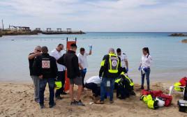 כוחות ההצלה בזירת טביעה בחוף בנהריה