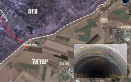 תוואי המנהרה שהושמדה בעזה