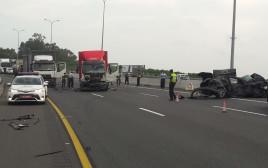 זירת התאונה בכביש החוף