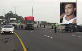 שחר רובילר וזירת התאונה בה נהרג בכביש החוף