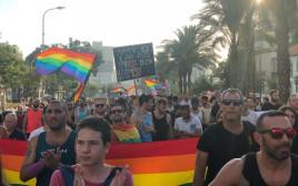 """מאות מפגינים להט""""בים בת""""א"""