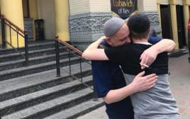 פגישה ליד בית הכנסת ברודסקי אחרי שחרורו של ראפקין